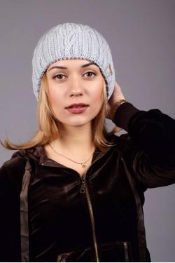 Женская вязанная шапка D45 Grey