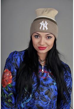 Женская шапка New York BeigeWBrown