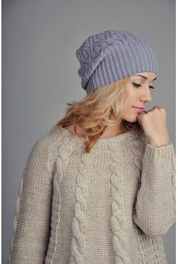 Женская вязаная шапка WH316Grey