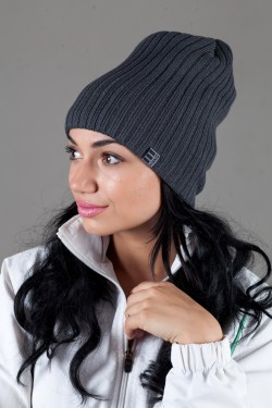 Женская трикотажная шапка Ozzi32-Dark Grey