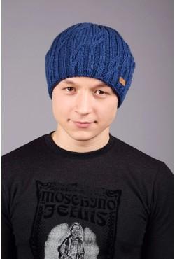 Мужская вязанная шапка D45 Blue