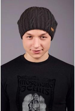 Мужская вязанная шапка D45 Dark Grey