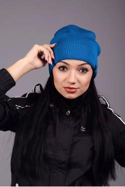 зимние шапки, Женская трикотажная шапка Ozzi blue