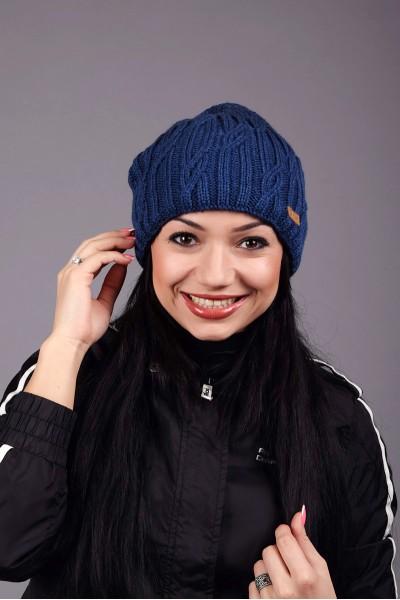 Женская вязанная шапка D45 Blue