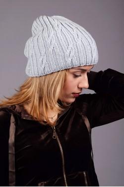 зимние шапки, Женская вязанная шапка D45 Grey