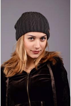 Женская вязанная шапка D45 Dark Grey