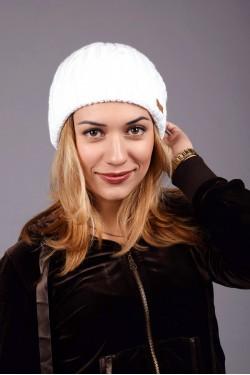 зимние шапки, Женская вязанная шапка D45 White