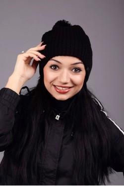 зимние шапки, Женская трикотажная шапка Round Black