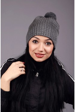 Женская трикотажная шапка Round Gray