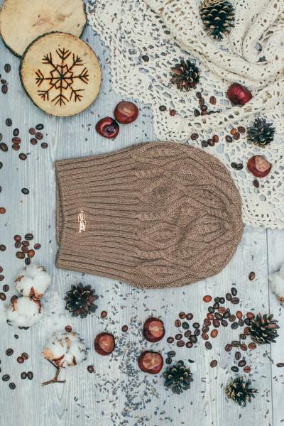 Женская вязанная шапка Atrics WH316-Light Brown