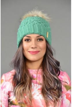 Женская вязанная шапка Odyssey-nika-emerald