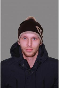 Мужская трикотажная шапка ozzi 69-brown-M