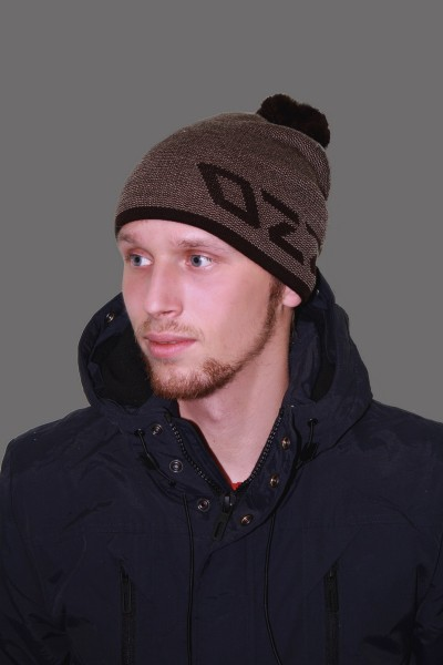 Мужская трикотажная шапка ozzi 69-l_brown-M