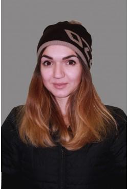 Женская трикотажная шапка ozzi 69-brown-W
