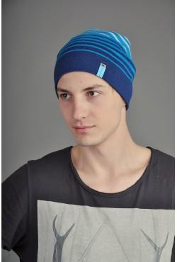 Мужская трикотажная шапка  74-Blue