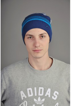 Мужская трикотажная шапка  34-Blue