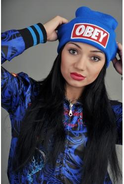 Женская шапка Obey синяя