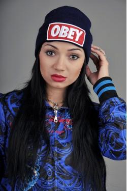 Женская шапка Obey темно синяя
