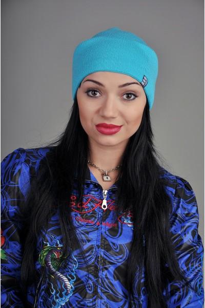 Женская трикотажная шапка Ozzi светло синяя
