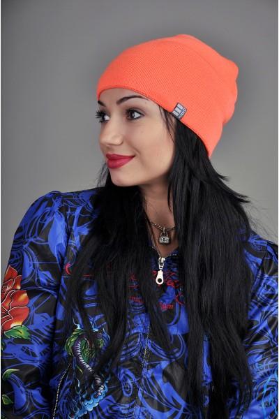 Женская трикотажная шапка Ozzi оранжевая