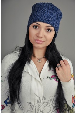 Женская трикотажная шапка Ozzi Warm Black/Blue