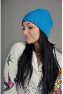 Женская трикотажная шапка 72-Blue