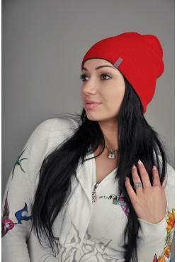 Женская трикотажная шапка 72-Red